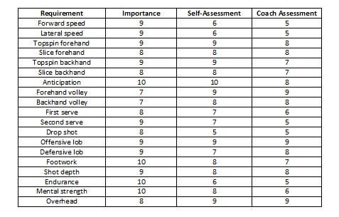 self assessment matrix - tennis